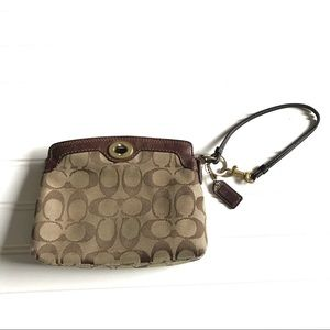 Coach brown wristlet leather wallet coin pouch